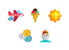 Flat icons set with long shadow effect of. Flat design style modern vector illustration icons set of traveling, summer vacation, tourism and journey objects and Royalty Free Stock Photos