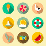Flat icons set with long shadow effect. Traveling Royalty Free Stock Images