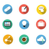 Flat Icons set with long shadow  including drug pill, note,chat, Royalty Free Stock Image