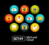 Flat icons set 49 - mail and cloud collection. For phone watch or tablet Stock Illustration