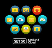 Flat icons set 50 - mail and cloud collection Stock Photography
