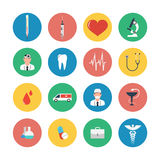 Flat icons set of medical equipment. Flat icons set of medical tools and healthcare equipment, science research and health treatment service. Modern design Royalty Free Stock Image