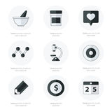 Flat icons set of medical tools and health care black and white. Color, vector design Royalty Free Stock Photography