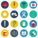 Flat icons set of medical tools and health care equipment, science research and health treatment service. Modern design style coll Royalty Free Stock Image