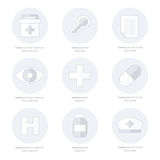 Flat icons set of medical tools, line style. Vector design Royalty Free Stock Image