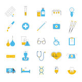 Flat icons set of medicines, diagnostics, treatment, healthcare. Twenty-flat icons relating to medicines, diagnostics, treatment Stock Photos
