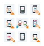 Flat icons set with mobile technology, online shopping, web wallet, nfc, on-line banking Stock Photo