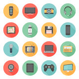 Flat icons set of multimedia and technology devices. Audio and video items and objects. on white background stock illustration
