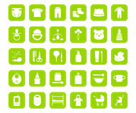 Flat icons set 30 - newborns. Set of 30 flat white icons on a green square background with dashed lines on the perimeter - the goods for newborns Royalty Free Stock Photos