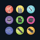 Flat icons set. 9 office illustration. Web advantages for your s Royalty Free Stock Photo
