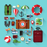 Flat icons set of planning a summer vacation Royalty Free Stock Images