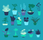 Flat icons set of Plant silhouette collection - Illustration Stock Photo