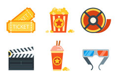 Flat icons set of professional film production. Movie shooting, studio showreel, actor casting, storyboard writing, visual effects, post production. Flat Stock Photography