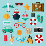 Flat icons set of recreation and travel. Signs and symbols of travel Stock Images