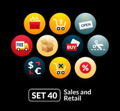 Flat icons set 40 - sales and retail collection Stock Photo