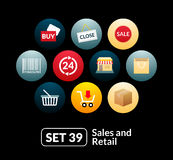 Flat icons set 39 - sales and retail collection Stock Photos