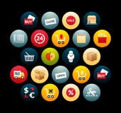 Flat icons set 20. Sales and retail collection, for phone watch or tablet, isolated on black background Stock Photography