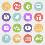 Flat icons set - sales and retail. Modern flat shopping icons. Design elements for mobile and web applications Stock Image