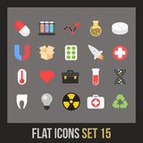 Flat icons set 15. Science and medicine collection Royalty Free Stock Photo