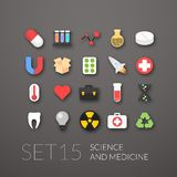Flat icons set 15. Science and medicine collection Stock Photos
