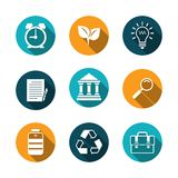 Flat Icons Set with Shadow Royalty Free Stock Photos