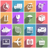 Flat icons set shipping and delivery Stock Photo