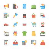 Flat Icons Set of Shopping and Commerce. These flat  icons of shopping cart, house, delete symbol, padlocks in different positions, dollar bills, credit cards Stock Photography