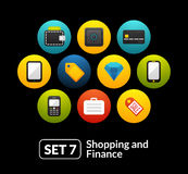 Flat icons set 7 - shopping and finance collection. For phone watch or tablet Royalty Free Stock Photo