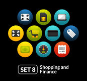 Flat icons set 8 - shopping and finance collection Royalty Free Stock Images