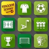 Flat icons set of soccer elements. Collection of symbols for association football. Qualitative vector (EPS-10) icons about soccer, sport game, championship Stock Image