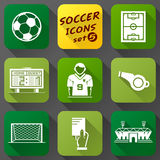 Flat icons set of soccer elements Royalty Free Stock Photo