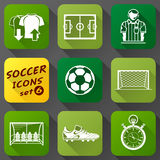 Flat icons set of soccer elements Stock Photos