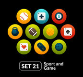 Flat icons set 21 - sport and game collection Royalty Free Stock Images