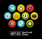 Flat icons set 22 - sport and game collection Royalty Free Stock Images