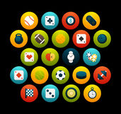 Flat icons set 12. Sport and game collection, for phone watch or tablet, isolated on black background Royalty Free Stock Images