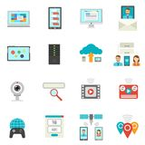 It Flat Icons Set. With technical support symbols isolated vector illustration Royalty Free Stock Images