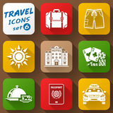 Flat icons set of travel elements Stock Image