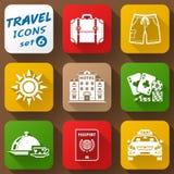 Flat icons set of travel elements Stock Image