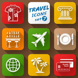 Flat icons set of travel elements Stock Photos