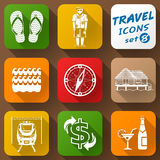 Flat icons set of travel elements Stock Images