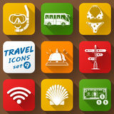 Flat icons set of travel elements Royalty Free Stock Images