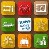 Flat icons set of travel elements Royalty Free Stock Photo