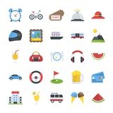 Flat Icons Set of Travel and Places