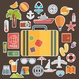 Flat icons set of traveling on airplane, planning a summer  Royalty Free Stock Photo