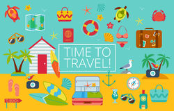 Flat icons set of traveling Royalty Free Stock Image