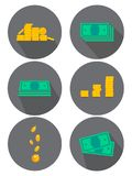 Flat icons set. Variants of money, coins. Ideas for advertising and banners. Vector illustration royalty free illustration