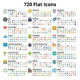 720 Flat Icons Set Stock Photography