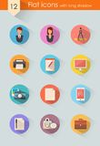 Flat icons set vector. Flat icons with long shadow set for web site design style flat Stock Image