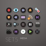 Flat icons set 5 Stock Photos
