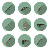 Flat icons set weapons Royalty Free Stock Photo